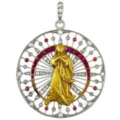 Exquisite Jeweled Gold Platinum Madonna Pendant
