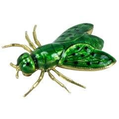 Green Enamel Gold Fly Brooch Pin Fine Estate Jewelry