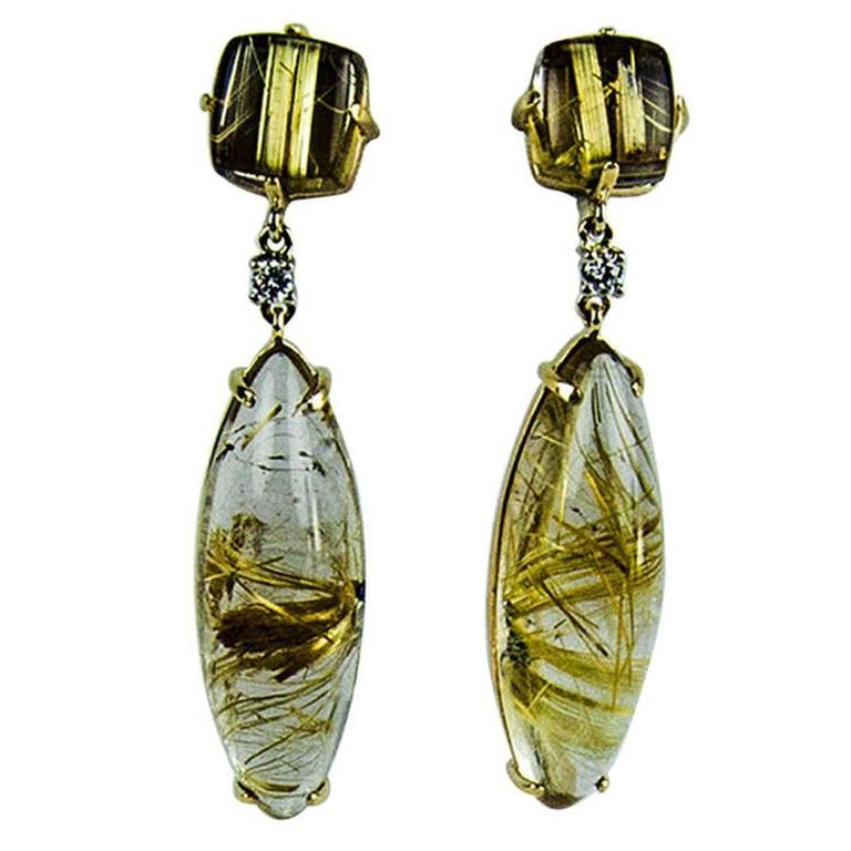 Rutilated quartz diamond gold earrings for sale at 1stdibs for Golden rutilated quartz jewelry