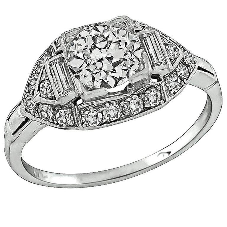0.85 Carat Diamond Platinum Engagement Ring