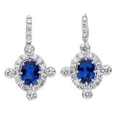 Oval 3.70 Carats Sapphires Diamond Gold Earrings