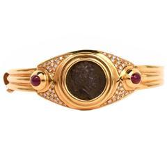 Ruby Diamond Gold Roman Coin Bangle Bracelet