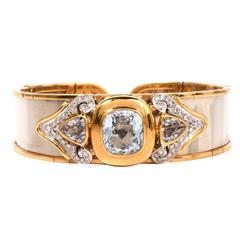 Chic  Aquamarine Diamond Gold Cuff Bracelet