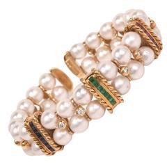 Akoya Pearl Multi-Gem Diamond Gold Cuff Bangle Bracelet