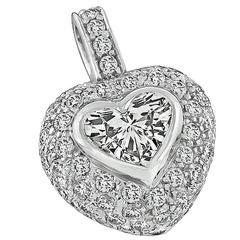 Elegant GIA Cert 1.06 Carat Diamond Gold Heart Pendant