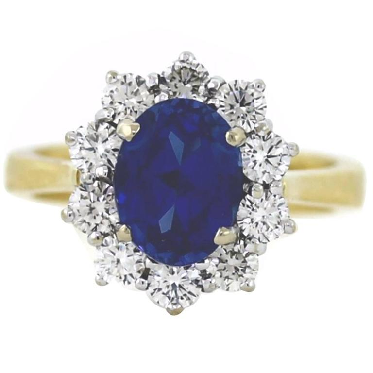 2.50 Carat Sapphire Diamond Gold Mini Princess Diana Ring For Sale
