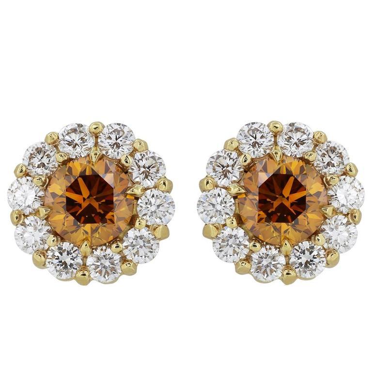 .87 Carats Cognac Diamonds Gold Stud Earrings  1