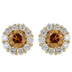 .87 Carats Cognac Diamonds Gold Stud Earrings