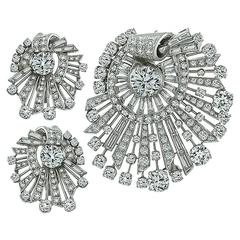 Diamond Platinum Pin Pendant and Earrings Set
