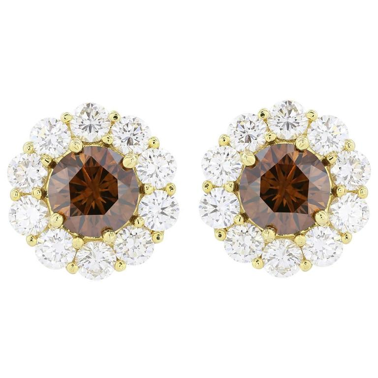1.83 Carats Cognac Diamonds Halo Gold Stud Earrings