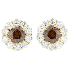1.83 Carats Cognac Diamonds Halo Gold Stud Earrings