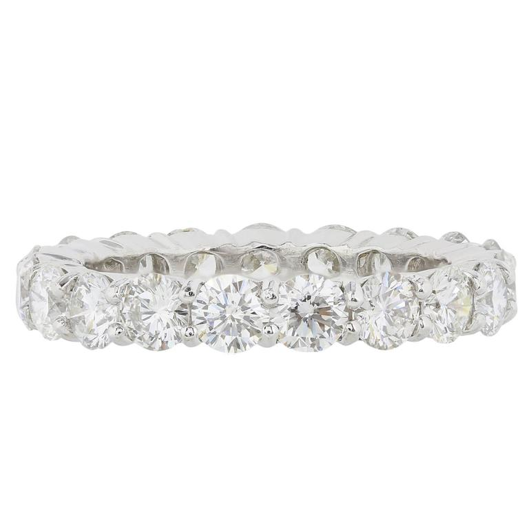 3.26 Carats Diamonds Platinum Eternity Band Ring For Sale