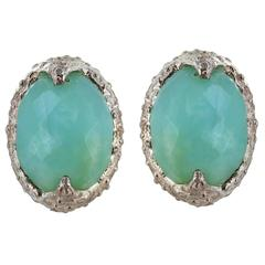 Chalcedony Oval Facet Silver Earrings