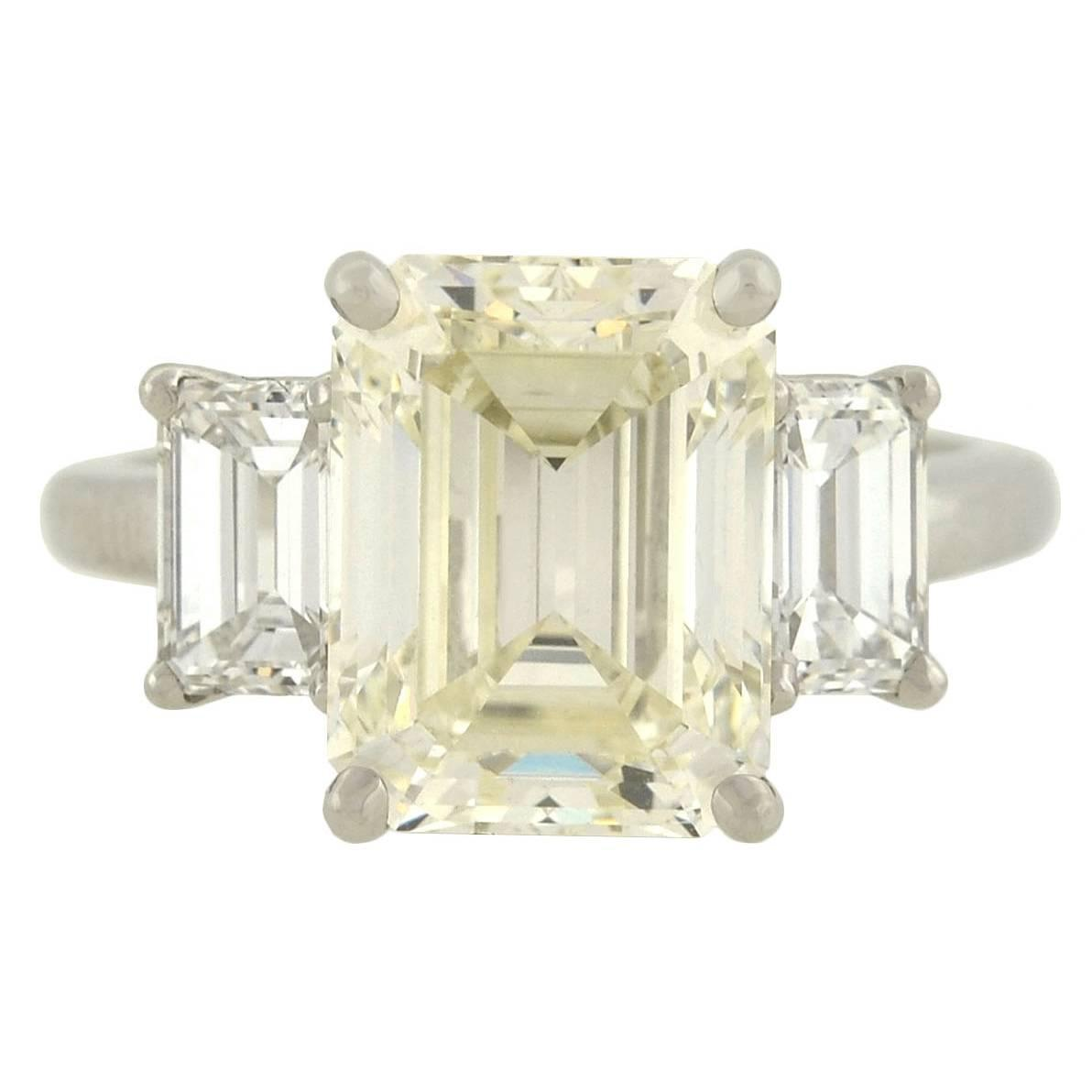Contemporary 4 13 Carat Emerald Cut Diamond Platinum 3 Stone Engagement Ring
