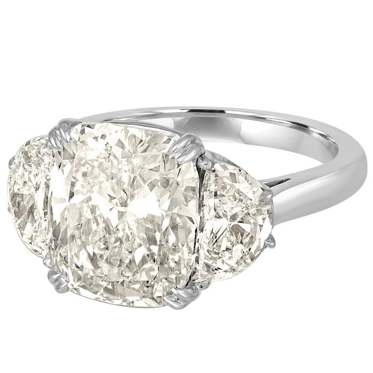 7.06 Carat Cushion Cut Diamond Set with Half Moons in Platinum Ring Mounting