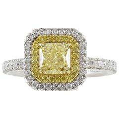 1.03 Carat GIA Cert Fancy Yellow Radiant Diamond Gold Platinum Ring