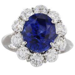 7.05 Gem Blue Sapphire and Diamond Ring