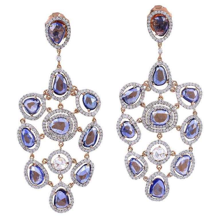 Sapphire Diamond Gold Chandelier Earrings For Sale At 1stdibs