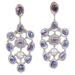 Sapphire Diamond Gold Chandelier Earrings