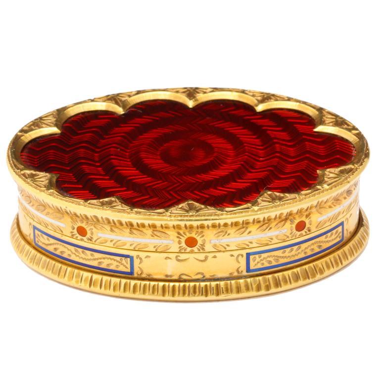 Cartier Red Enamel Gold Pill Box