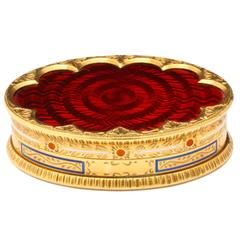 Cartier Red Enamel Gold Pill Box