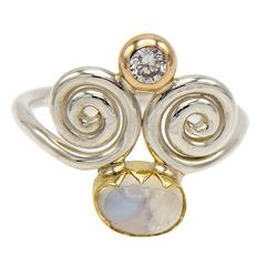 Spiral Swirl Two-Color Moonstone Diamond Sterling Silver Gold Ring