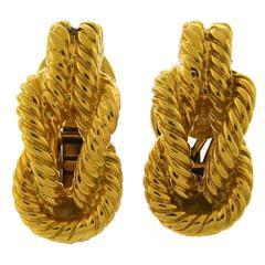 Hermes Gold Rope Design Earrings