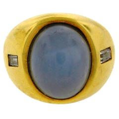 1970s Andrew Clunn Star Sapphire Diamond Gold Ring