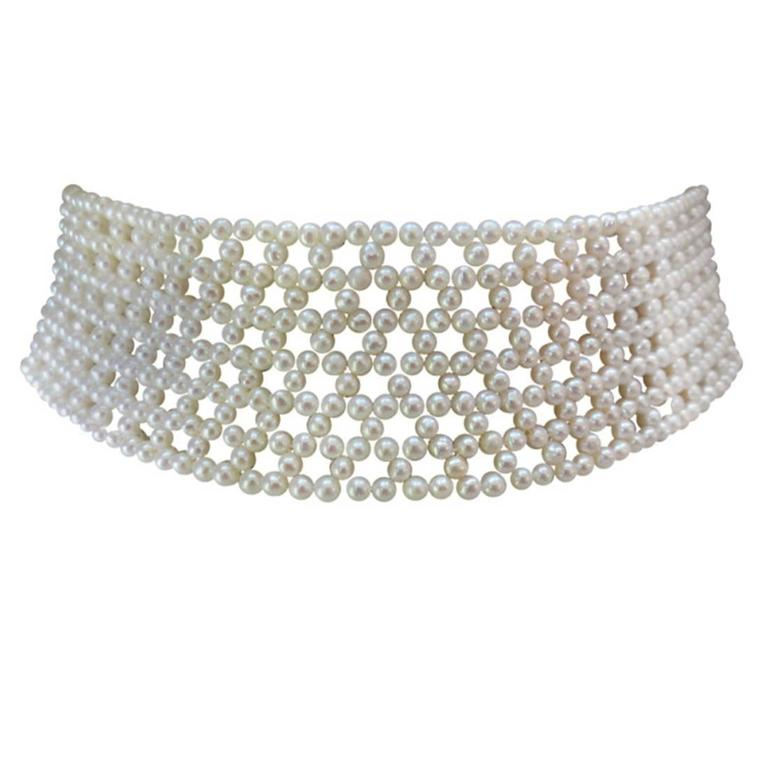 Woven Pearl Multi-Stranded Bridal Choker with Sliding Gold Clasp For Sale