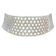 Marina J. Wide Woven Bridal Pearl Choker with Rodium plated Silver Sliding clasp