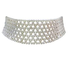 Multi-Stranded Woven White Pearl Bridal Choker with Sliding 14k White Gold Clasp