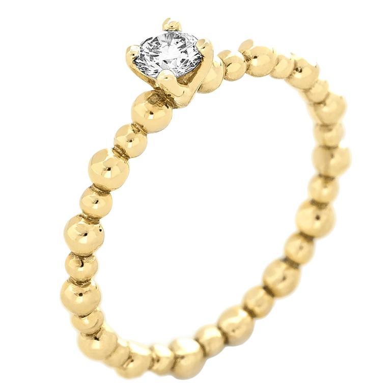 Yellow Gold Bead Texture Brilliant White Diamond Stacking Band Ring