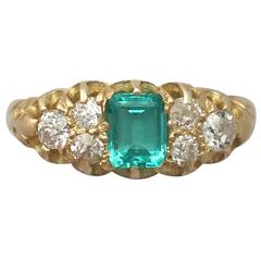1910s Emerald and Diamond Yellow Gold Cocktail Ring
