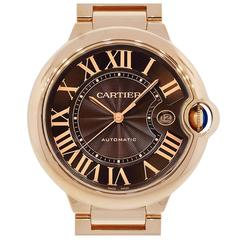 Cartier Rose Gold Ballon Bleu Chocolate Dial Automatic Wristwatch