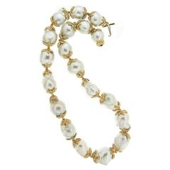 South Sea Pearl Gold Leaf Necklace