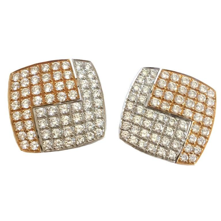1990s Paul Binder Diamonds Gold Square Earrings For Sale
