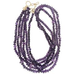 Multi-Strand Amethyst Sugar Loaf and Roundel Necklace