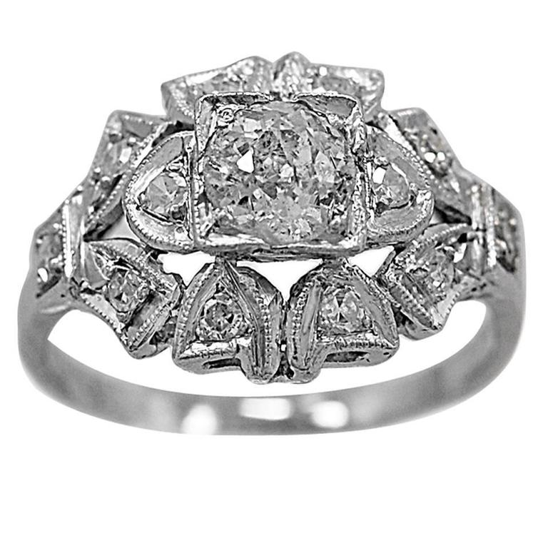 Art Deco .55 Carat Diamond Platinum Engagement Ring