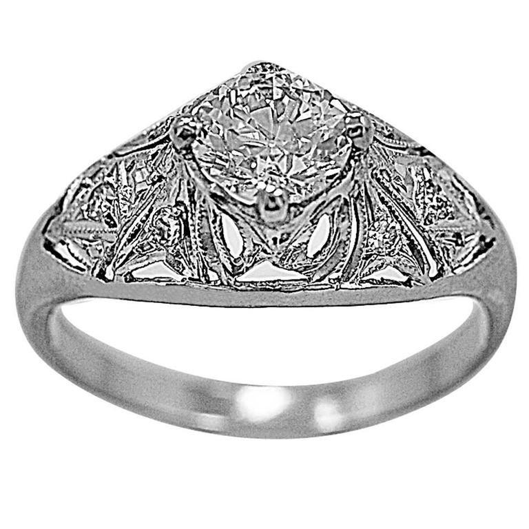 Art Deco .63 Carat Diamond Platinum Engagement Ring