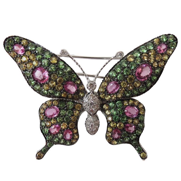 Multicolor Sapphire Tsavorite Diamond Gold Butterfly Pin
