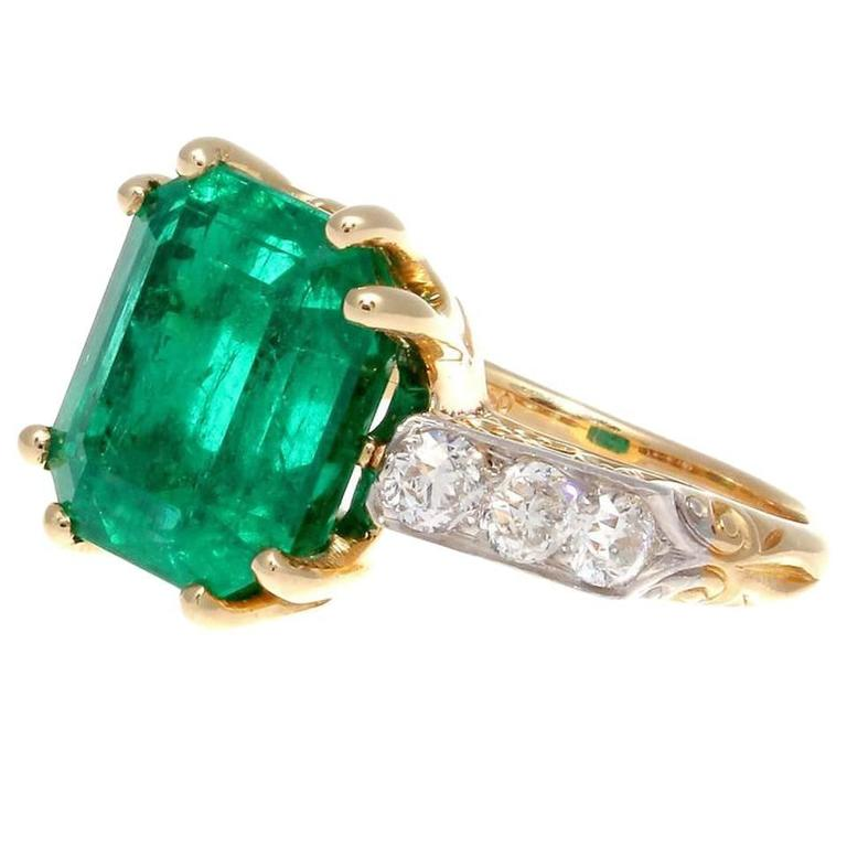 5 Carat Colombian Emerald Diamond Gold Ring For Sale at 1stdibs