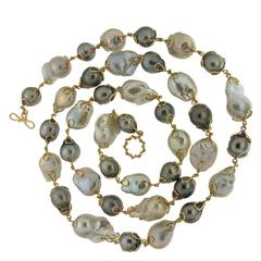 Baroque Fresh Water Pearl with Tahitian Pearl Necklace