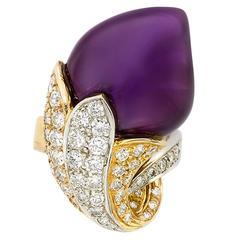 Amethyst Diamond Gold Flower Ring