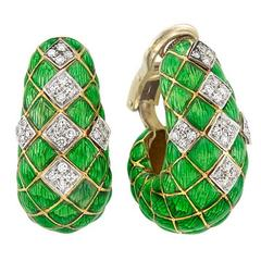 Green Enamel Diamond Gold Hoop Ear Clips