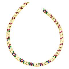 Emerald Ruby Sapphire Gold Necklace