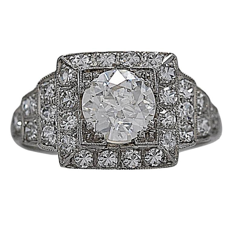 Art Deco .94 Carat Diamond Platinum Engagement Ring