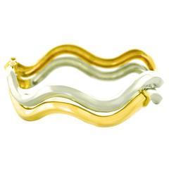Pomellato Yellow White Gold Wave Bracelet, Pair