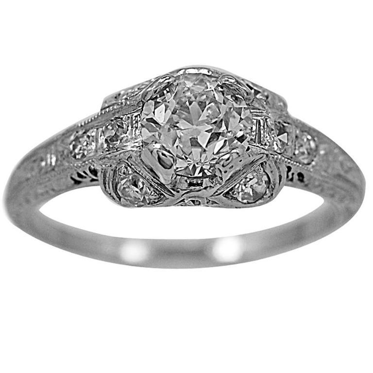 Art Deco .75 Carat Diamond Platinum Engagement Ring