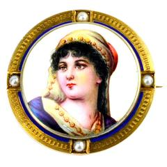 1900 Victorian Miniature Portrait Brooch