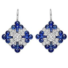 Sapphire Diamond Gold Foliate Cluster Drop Earrings